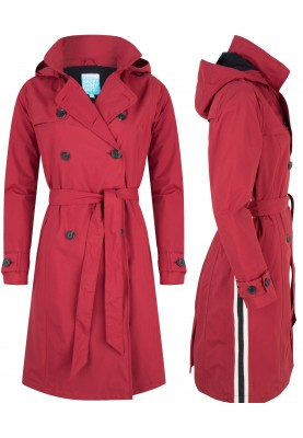 Donker rode Long Trenchcoat Strip Robyne van Happy Rainy Days