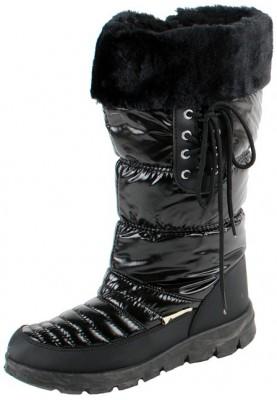 Boot / Botte D'hiver Matelassée Neige Longues Femmes Noires zOAsc5Our
